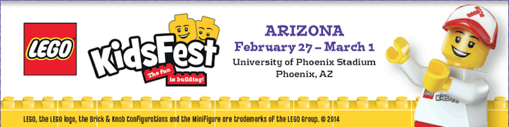 Banner with LEGO heads and KidsFest Logo, Dates, and Address