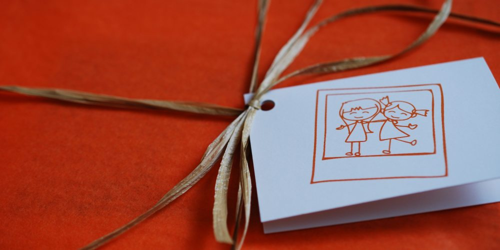 Orange tissue paper and a personalized note. Photo: Jenny Bristol