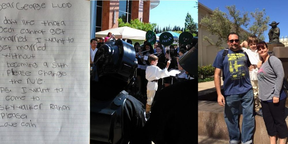 From left to right: The letter that started it all, Colin leading the orchestra at Intergalactic Con, and Colin with his family outside LucasFilm. Images by: Peggy Gilpatrick.
