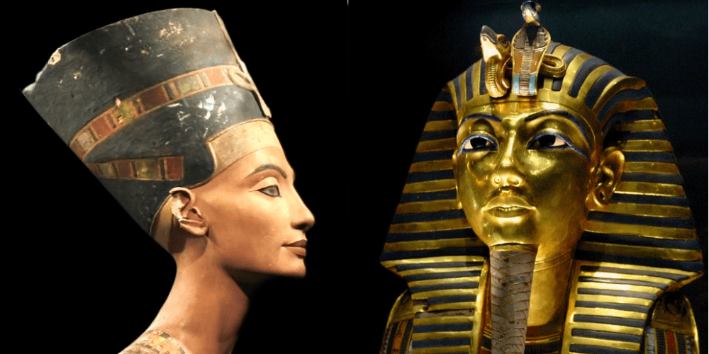 Queen Nefertiti and King Tutankhamun. Picture: adapted from photos by  Jean-Pierre Dalbéra (CC BY 2.0) and Bjørn Christian Tørrissen (CC BY-SA 3.0)