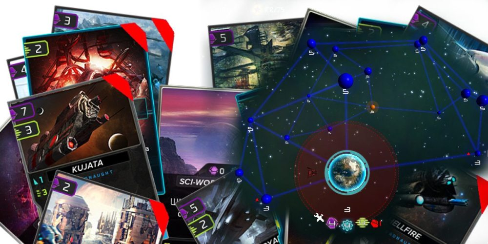 Various cards overlapping each other on the left side of the image are opposed to the strategic map of spheres and lines onto which they can be played.