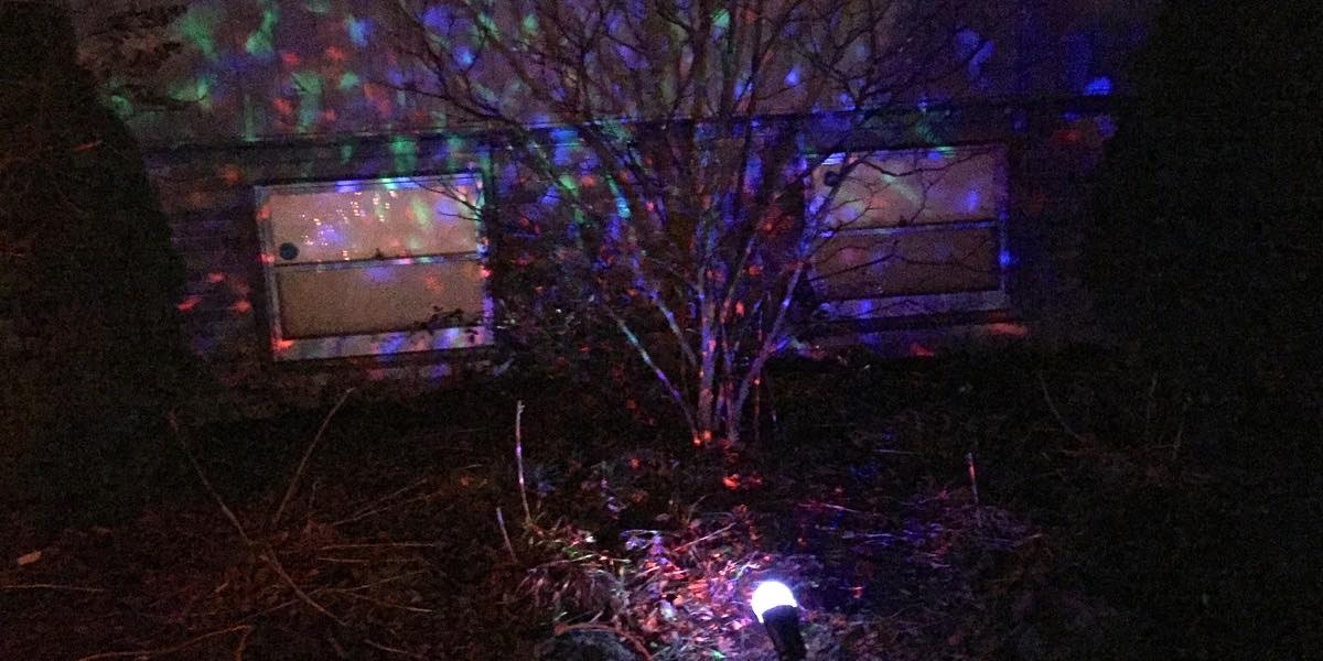Projection spotlight inexpensive app controlled christmas lighting