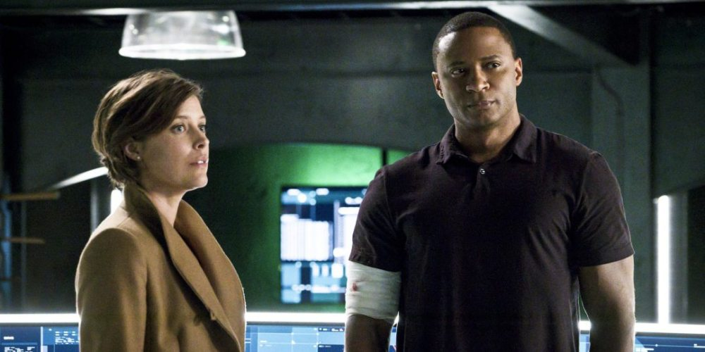 "Arrow -- ""A.W.O.L."" -- Image AR411A_0173b.jpg -- Pictured (L-R): Audrey Marie Anderson as Lyla Michaels and David Ramsey as John Diggle -- Photo: Liane Hentscher/ The CW -- © 2016 The CW Network, LLC. All Rights Reserved."