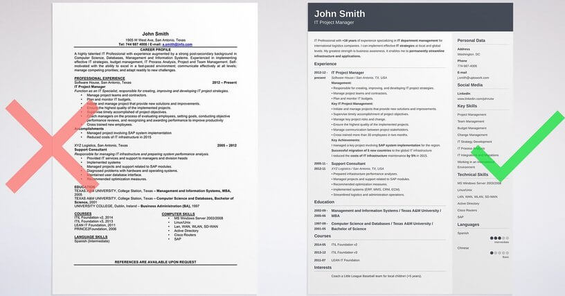 visual cv templates free