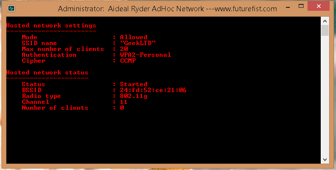 Hosted Network Windows 8.1