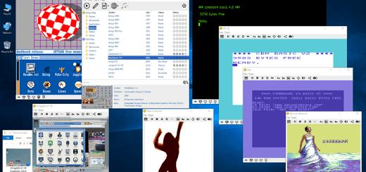 Cloanto's Amiga Forever 2016 Player UI and emulator windows.