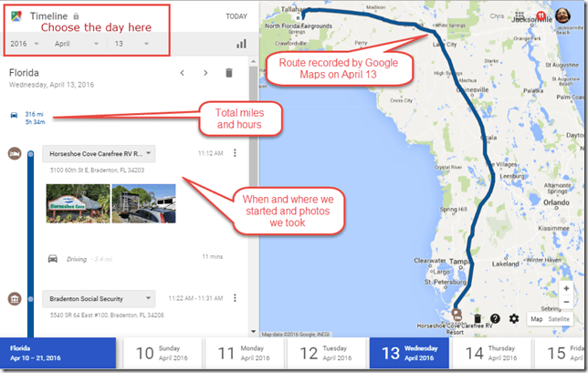 One Day's travel recorded by Location History