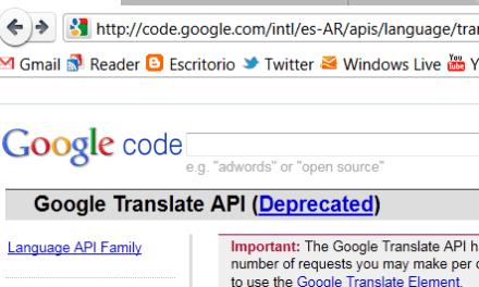 Google Translate API tiene fecha de caducidad.