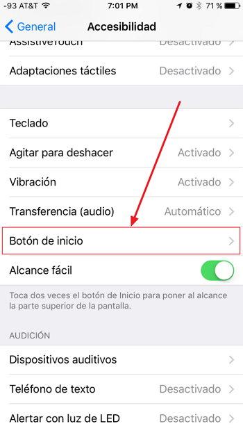 iOS 10 - Botón de Inicio