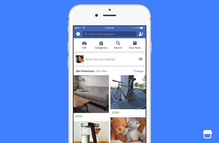Facebook introduce Marketplace para que los usuarios puedan comprar y vender productos en su barrio/ciudad