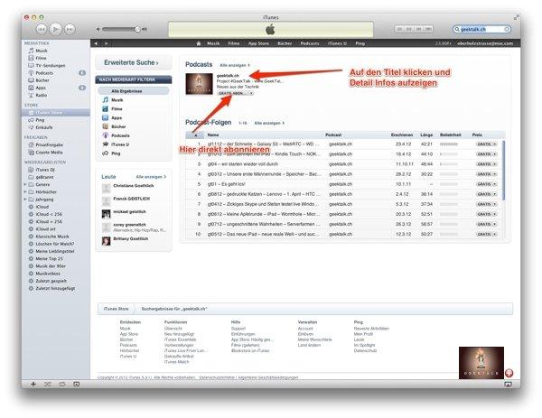 Podcast via iTunes am Mac abonnieren
