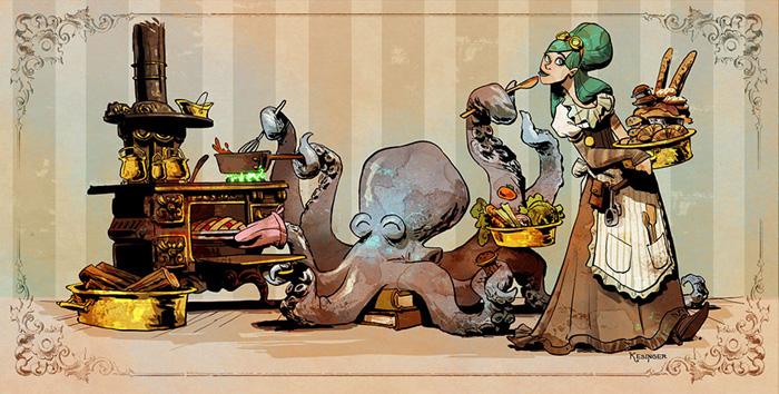 Fantasy Girl Wallpaper Cool Fantasy Pet Octopus Steampunk Art