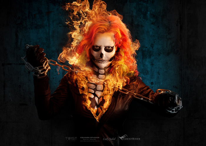 Girls Working Out Wallpaper Ghost Rider Genderbend Cosplay