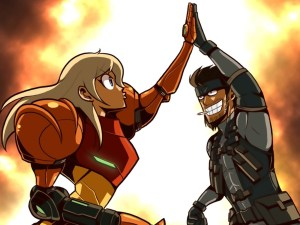 Samus Aran and Solid Snake HIGH FIVE!