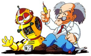 Dr. Wiley Tinkers With Broken Robot