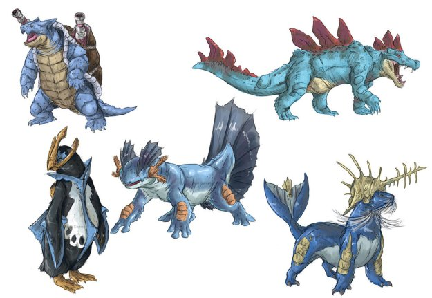 realistic_pokemon_sketches__water_final_evolutions_by_nauvasca-d5n3q7d