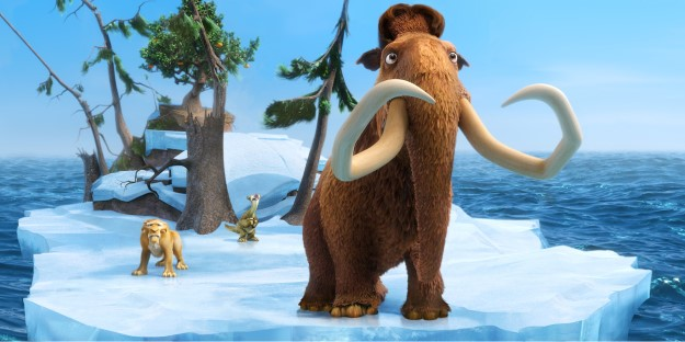 "This image released by 20th Century Fox shows the characters Diego, voiced by Denis Leary, left, Sid, voiced by John Leguizamo and Manny, voiced by Ray Romano in a scene from the animated film, ""Ice Age: Continental Drift."" (AP Photo/20th Century Fox) 07132012xGUIDE"