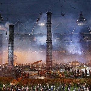 LONDON, ENGLAND - JULY 27:  Performers depict the industrial revolution during the Opening Ceremony of the London 2012 Olympic Games at the Olympic Stadium on July 27, 2012 in London, England.  (Photo by Alex Livesey/Getty Images)