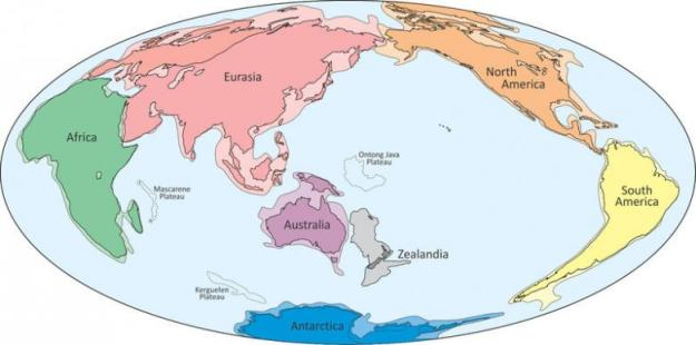 An illustration shows what geologists are calling Zealandia, a continent two-thirds the size of Australia lurking beneath the waves in the southwest Pacific