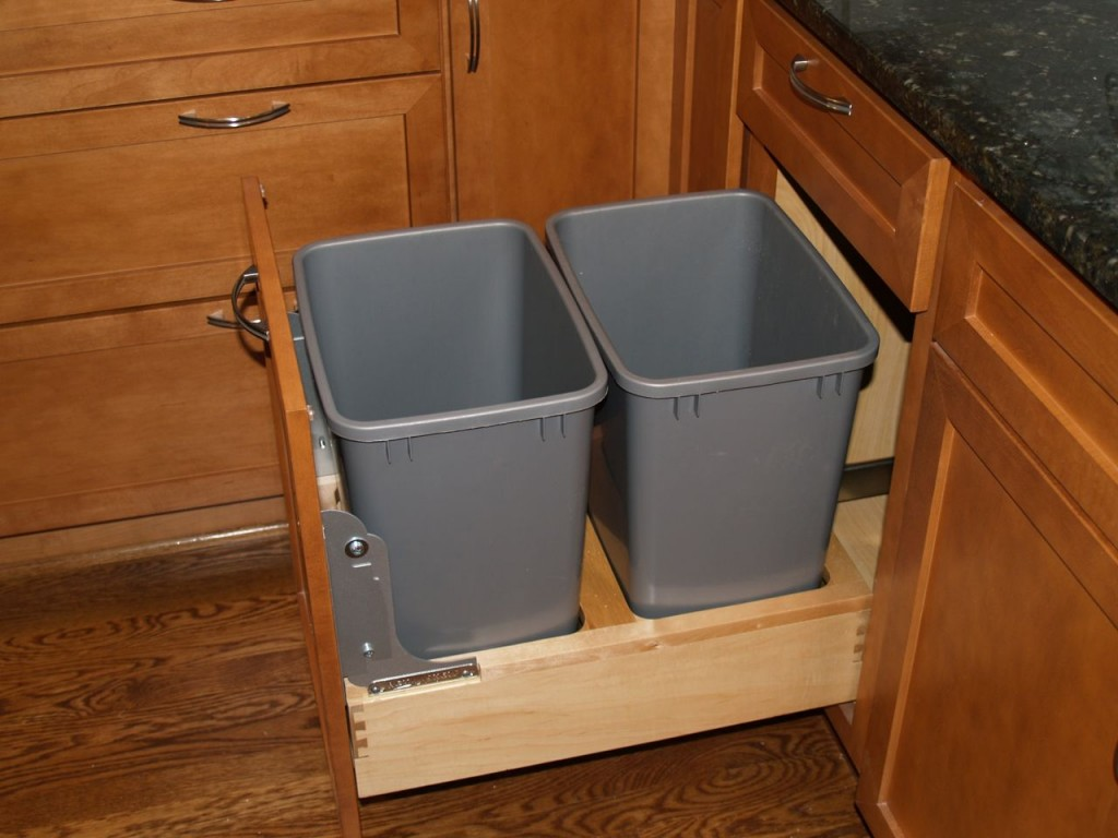 Kitchen Cabinet Trash Bin Pull Out Trash Can And Recycling Bin Geeky Girl Engineer