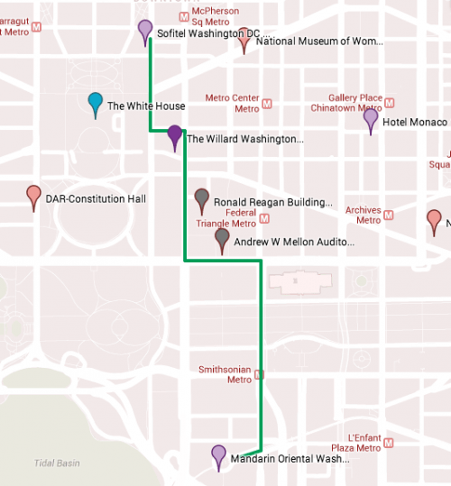 Our Wedding Venues - Google Maps Engine is amazing for figuring out location logistics