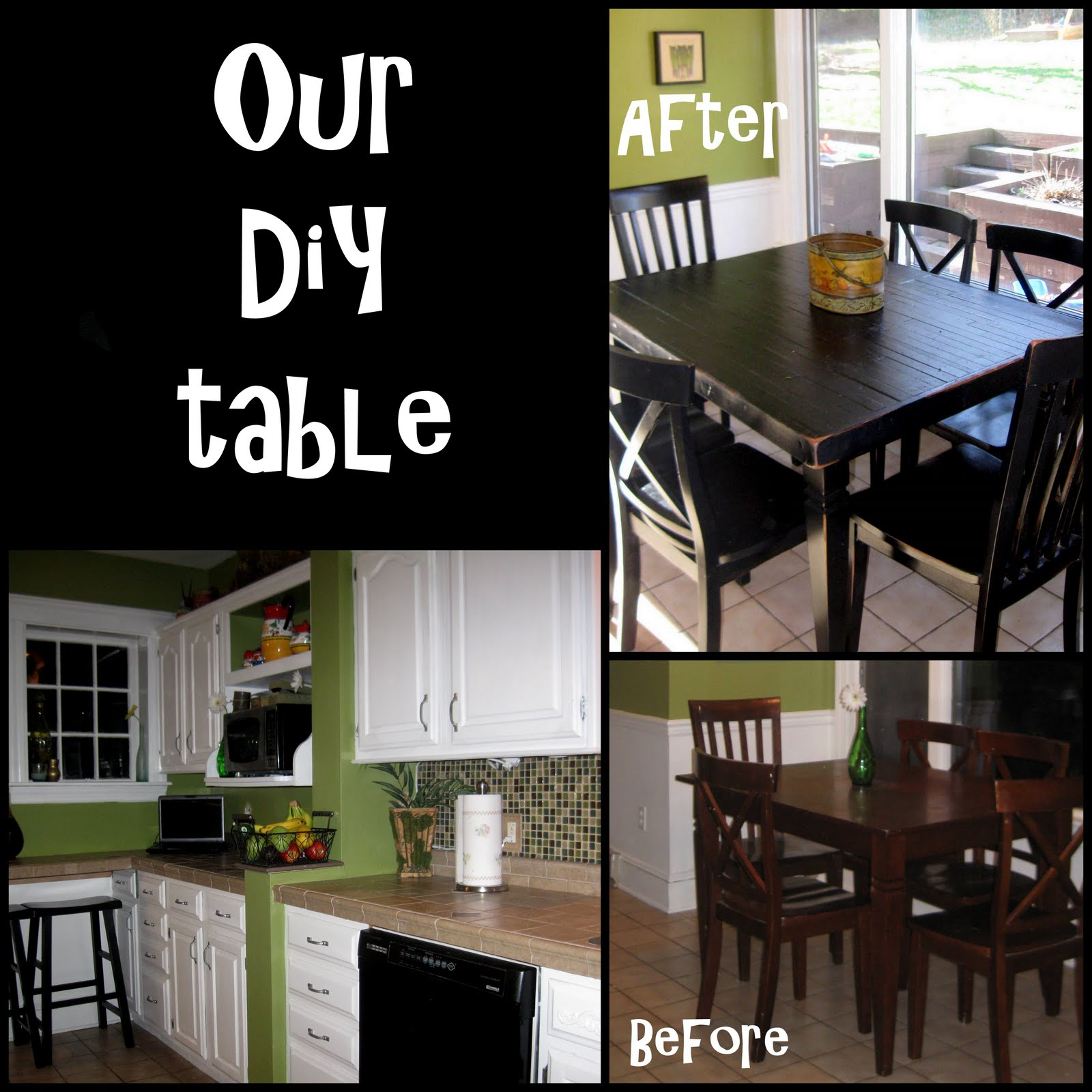 geezeescanvas refinish kitchen table DIY kitchen table with our recycled wood