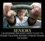 Senior speeding in car