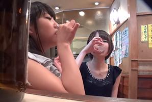 【素人】話題の相席居酒屋に出会いを求める女の子をテキーラで泥酔させて乱交!