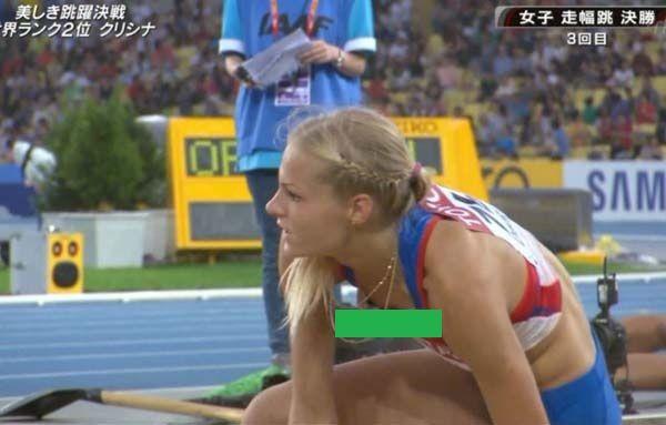 【画像】競技に集中しすぎて、胸や女性器を露にしてしまった女性アスリート達。。。
