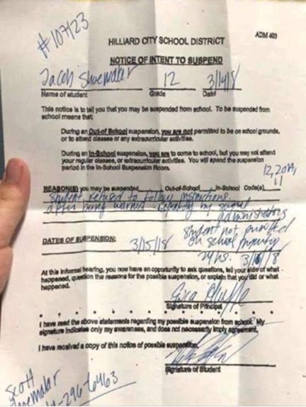 Image result for Student Suspended for Refusing to Leave Classroom During Gun Control #Walkout
