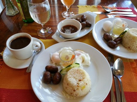 typical Filipino breakfast at Bistro Amarillo in Vigan