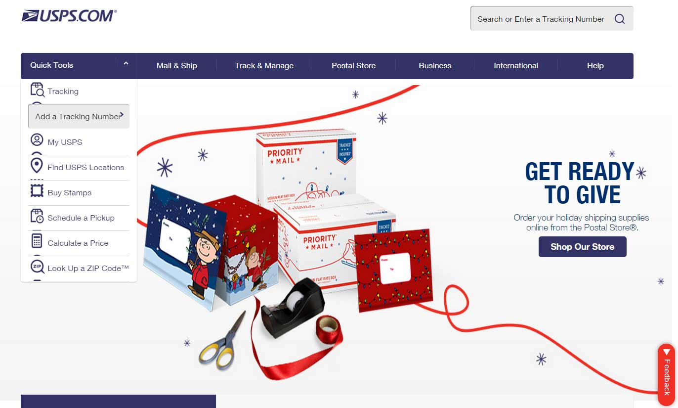 USA Post Office website (both Nov. 2015 screenshots)