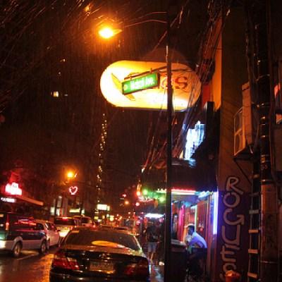 clubs on a rainy night