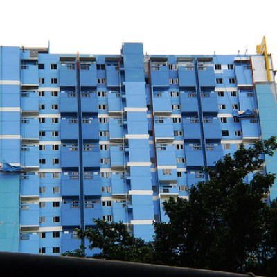 blue building in front of GMA