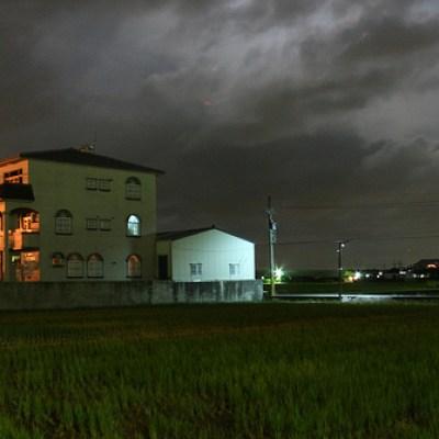 rural houses at night
