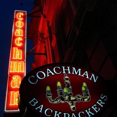 Coachman Backpackers neon sign