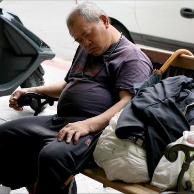 sleeping homeless guy