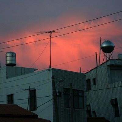 rural buildings at sunset