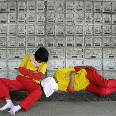 sleeping workers at the post office