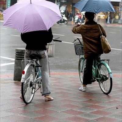 umbrellas on a bike