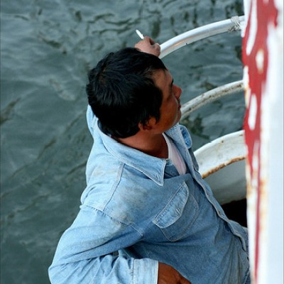 Man Smoking a Cigarette on the Kaohsiung Ferry