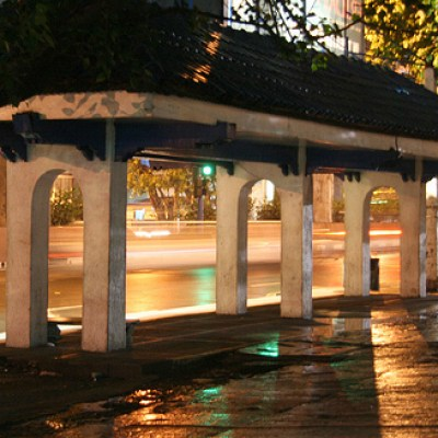 waiting shed at night