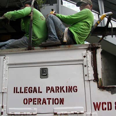 illegal parking operation tow truck