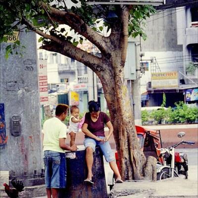 family under a tree