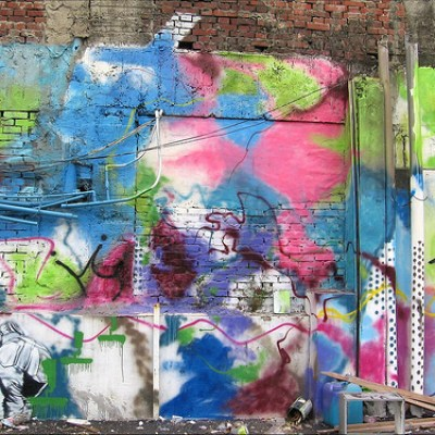 graffiti- covered wall