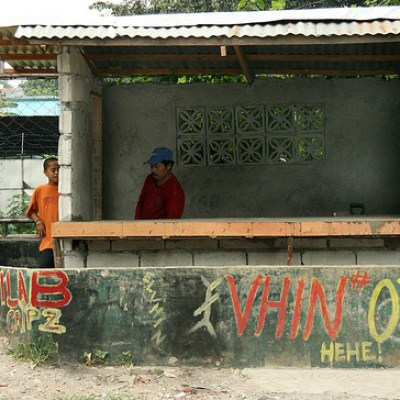 waiting shed with graffiti