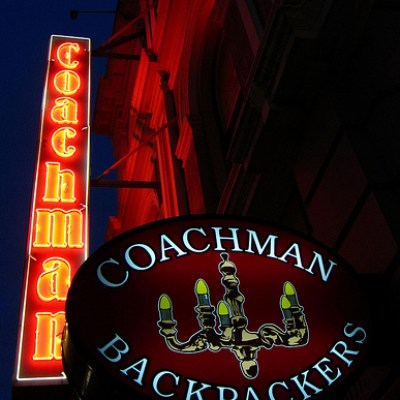 Coachman Backpackers neon sign