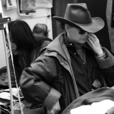 shopper in a cowboy hat