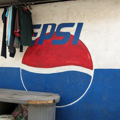 Pepsi logo on wall