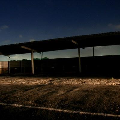 waiting shed at night